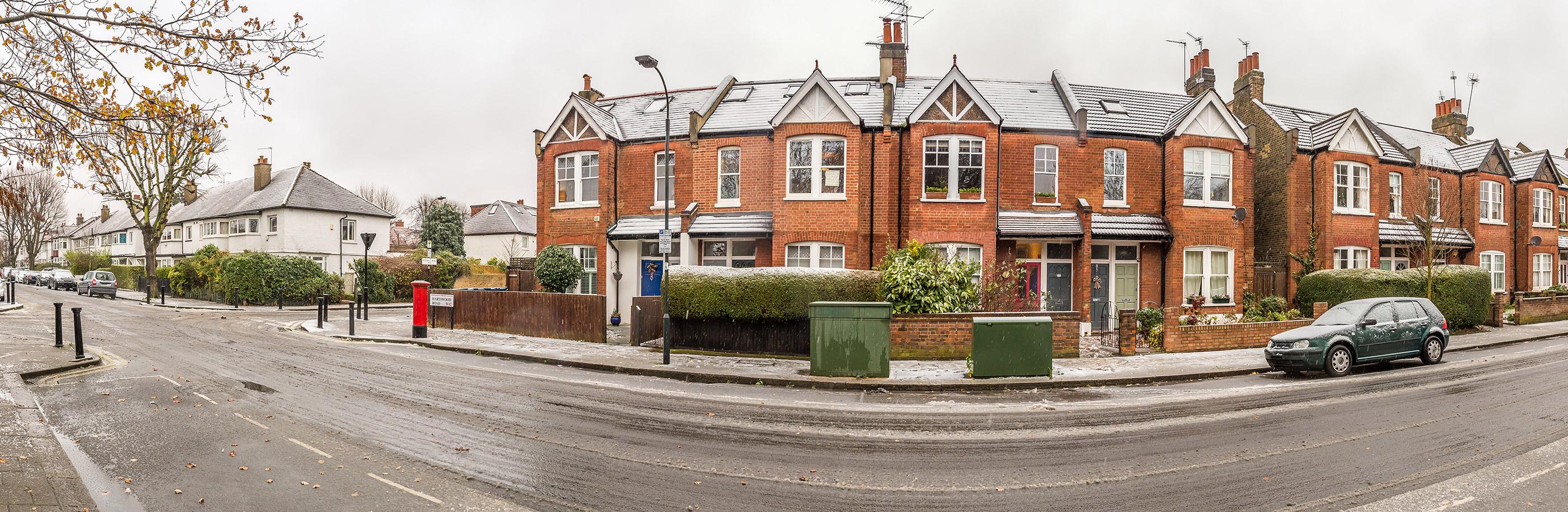 row of brick-built terraced houses