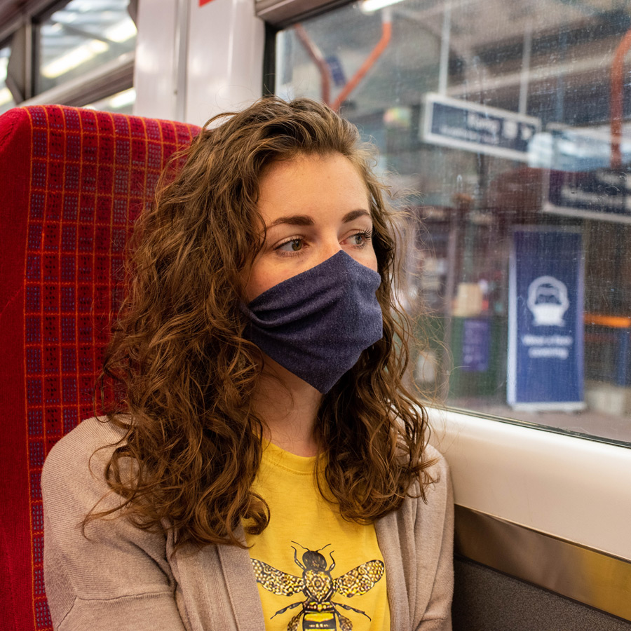 Wearing a mask on a train