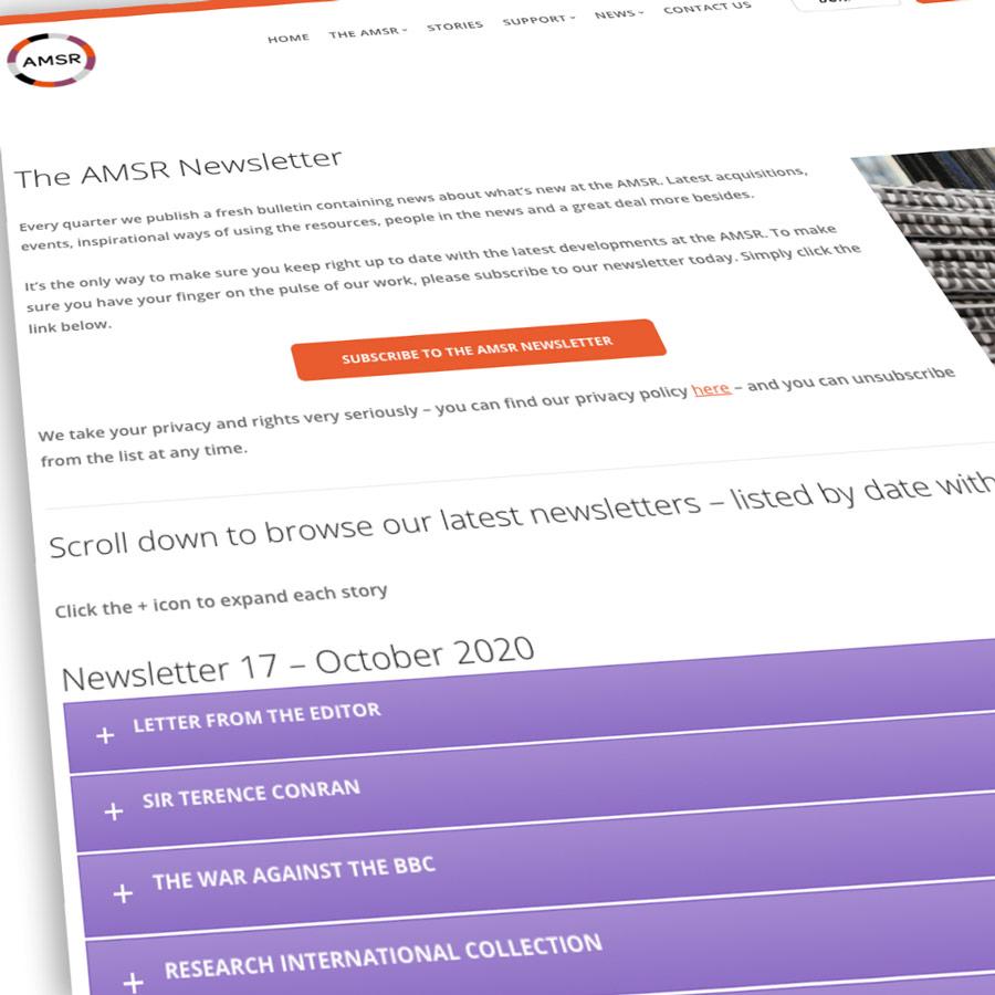 Screenshot of AMSR newsletter page