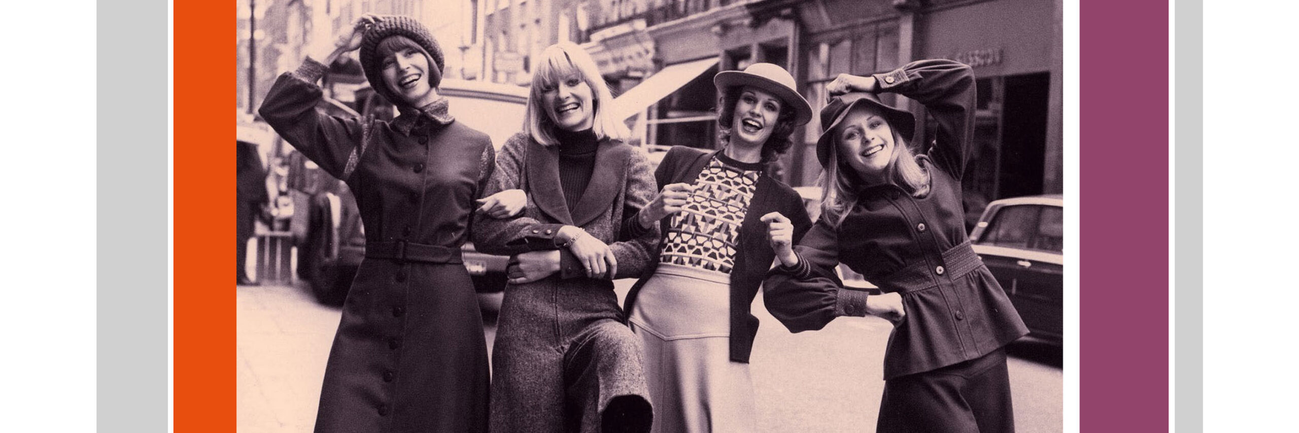 1970s photo of four girls in London street wearing fashions of the time