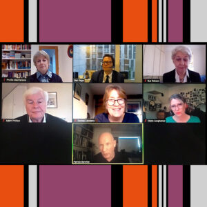 Screenshot of Zoom screen featuring contributors to AMSR Spring event MArch 2021