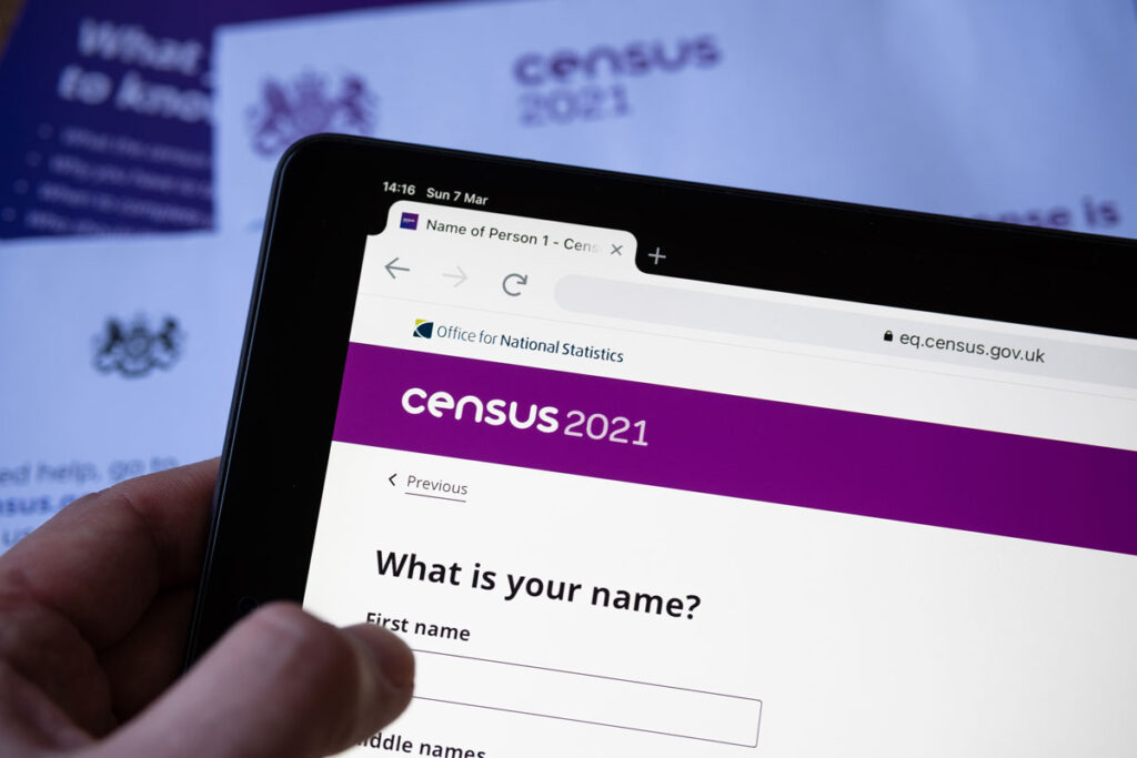 Photo showing online census screen GB 2021