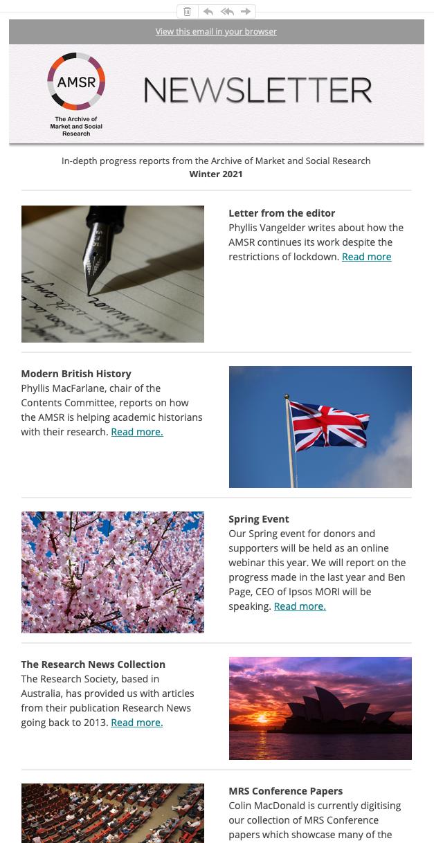 AMSR newsletter sample screenshot
